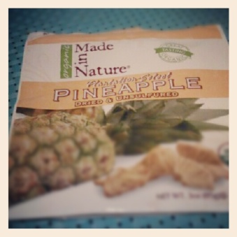 Snack: dried pineapple eaten in the car.