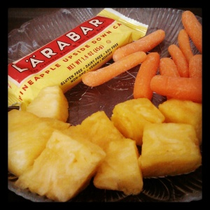pineapple upside down cake larabar, fresh pineapple, baby carrots