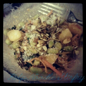 Dinner: peanut coconut curry kelp noodle stirfry with kale, pineapple, peanut flour and edamame.