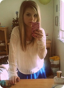 Easy fit white sweater: Abercrombie & Fitch. Royal blue chiffon skirt: Abercrombie & Fitch.