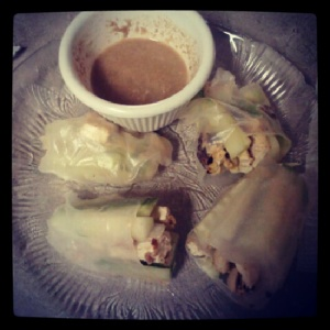 Homemade summer rolls with sunflower seed butter/lite coconut milk/red curry paste dipping sauce. Filled with fresh cucumber slices, pan-fried almond flour-coated tofu and roasted peanuts.