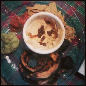 Recent snack: sweet potato tortilla chips with fresh salsa and hatch chili guac, roasted kabocha squash, dried figs and peanut flour paste.