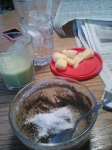 Lunch: green smoothie (vanilla u/s almond milk, spinach), green chia seed pudding made with Vega protein powder/coconut shreds/Justin's vanilla AB, frozen pineapple.