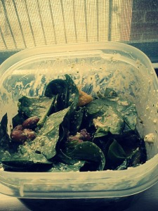 Southwestern-inspired salad. Spinach, green olives, pinto beans, homemade cashew cilantro dressing, hot sauce.