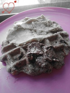 Sweet potato chocolate chip buckwheat & almond flour waffle. Topped with chocolate Nuttzo and Sunwarrior 'frosting'.