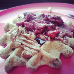 This was my very appropriate V-Day waffle.