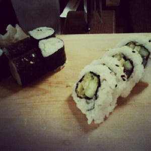 Friday night sushi with friends. Cucumber maki and sweet potato tempura roll. Demolished.