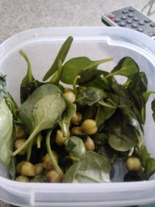 Lunch: spinach salad with green garbanzos and balsamic.