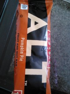 Lunch side: half a pumpkin pie ALT Larabar.