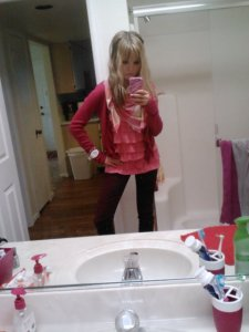 Outfit of the day (March 4): pink cropped cardigan (Abercrombie & Fitch), pink plaid scarf (American Eagle), pink ruffle tank (Abercrombie Kids), burgundy jeggings (Hollister), unpictured brown riding boots (Macy's).