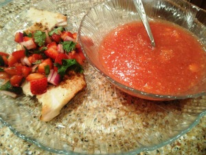 OMG fish on a plant-based blog?! Mahi mahi topped with homemade strawberry salsa, watermelon gazpacho.