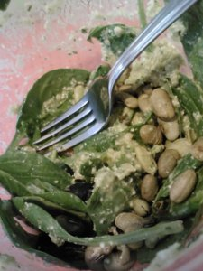 Lunch: spinach salad with homemade cashew cilantro dressing and avocado verde salsa, dry roasted edamame, eggplant 'bacon' and kalamata olives.