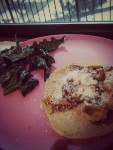 Dinner: sauteed kale, sweet potato socca pizza.