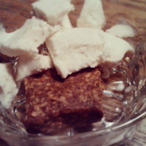 Random dessert: half of a cinnamon apple ALT Larabar, no sugar added vanilla coconut milk ice cream.