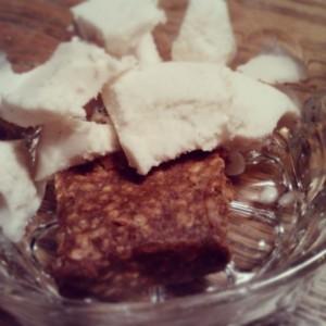 Random dessert: half of a cinnamon apple ALT Larabar, no sugar added vanilla coconut milk ice cream.