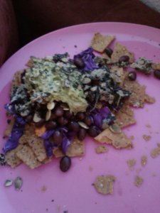 More clean nachos! Sprouted sweet potato chips, red cabbage, homemade guac, sweet potato, black beans and sprouted pumpkin seeds.