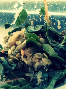 Recent lunch: spinach topped with green olives, raw jalapeno kraut, sprouted pumpkin seeds and white bean 'falafel'.