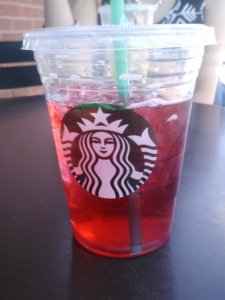 Grande unsweetened passion iced tea.