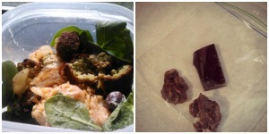 Lunch: spinach salad with leftover falafel+hummus & kimchi and olives; dried bananas and orange dark chocolate.
