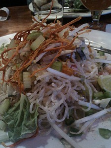 Raw kelp noodle pad Thai at Tasty Harmony.