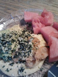 Dinner: socca topped with homemade spicy guacamole and raw kimchi and southwestern kale chips, side of watermelon