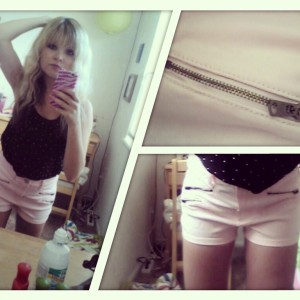 OOTD June 25: black studded tank (Forever 21), light pink high-waisted shorts (Abercrombie & Fitch), unpictured pink heart pendant and white rose ring (F21), white watch (American Eagle), black sparkly flats (Target).