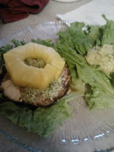 Dinner:: raw teriyaki portobello burger (marinated in coconut aminos+liquid smoke and prepped in dehydrator for 30 minutes) on romaine 'bun' topped with homemade cashew pumpkin seed 'pesto' and fresh pineapple.