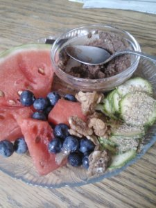 Snack plate for snack too! Watermelon, Sunwarrior protein dip, raw zucchini with garlic gomasio (told ya I'm obsessed), raw maple walnuts, blueberries.