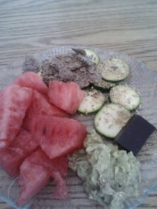 Snackplate. Mostly watermelon and raw zucchini slices topped with garlic gomasio.