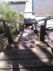 Stairs of doom...just kidding! Super steep though.