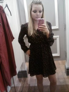 Aaaand dress 3, the one I bought. It has little colorful triangles all over!