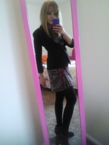 Monday's outfit: black blazer (Charlotte Russe), black/pink patterned dress (Target), black tights (Target), black heeled suede booties (Target).