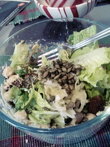 Big salad for lunch on Tuesday. One head of romaine lettuce, with some cauliflower soup/sauce as the dressing, garbanzo beans, more sauerkraut and spicy sunflower seeds.