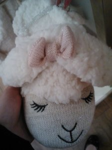 Cute lamb slippers at Bath & Body Works shopping for my mom's Christmas presents.