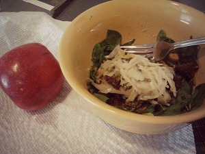 Monday lunch. Miracle noodles dry-sauteed with some peanut butter/cayenne pepper/almond milk for a spicy peanut sauce, with spinach and sauerkraut added in. Organic honeycrisp on the side.