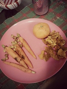 A very orange snackplate from Tuesday. Satsuma, sweet potato chips, carrots, and leftover pan-roasted chickpeas.