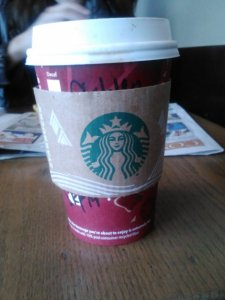 Soy skinny peppermint mocha and some sister and dad time at Starbucks after shopping.