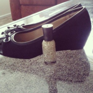 Fun (and cheap) Target finds. Navy blue wedges, sparkly gold nail polish, under $10 for both.