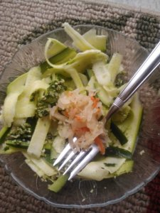 Pesto zoodles for lunch.