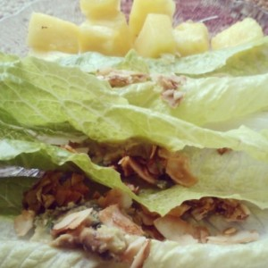 BLA lettuce wraps and pineapple. Romaine hearts+homemade coconut 'bacon' and Whole Foods fresh guacamole.