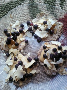 Flax 'pancakes' topped with Garden of Life protein sauce, coconut flakes and frozen blueberries.