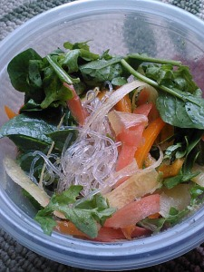 Kelp noodle 'stirfry' (adapted from Going Raw book) with rainbow carrots, spinach/arugula and orange bell pepper.