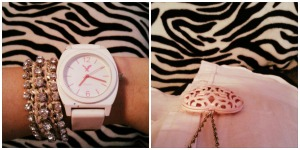 Left: jeweled friendship bracelet (American Eagle), white watch (American Eagle). Right: pink heart pendant (Forever 21).