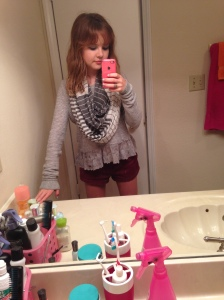 Grey cropped lace-trimmed sweater (Hollister), multi-striped infinity scarf (ALDO), burgundy twill shorts (Abercrombie).