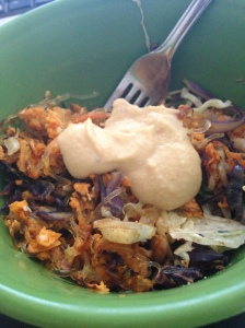 Pan-roasted cole slaw (cabbage and carrots) with kelp noodles, spices, hemp seeds and smoked hummus.