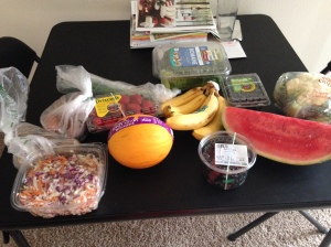 My huge produce haul from Whole Foods.